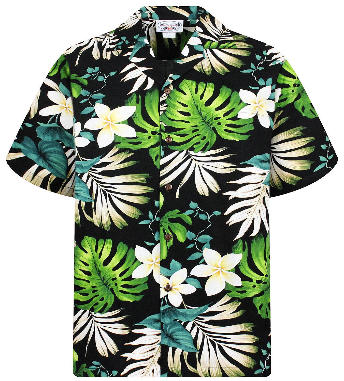 PLA Original Camicia Hawaiana Foglie di Palma verde Nero