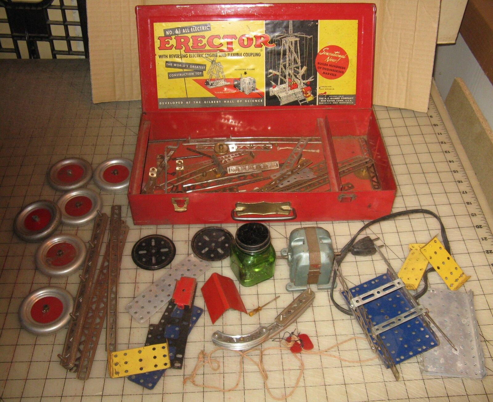 1948 Gilbert Incomplete ERECTOR SET No 6 1 2 - Electric Engine Works Though