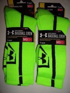 683e4d35a3 Details about 2 Pairs Mens UA UNDER ARMOUR Baseball Crew Socks Green (4-8.5  Shoes) Sz Medium
