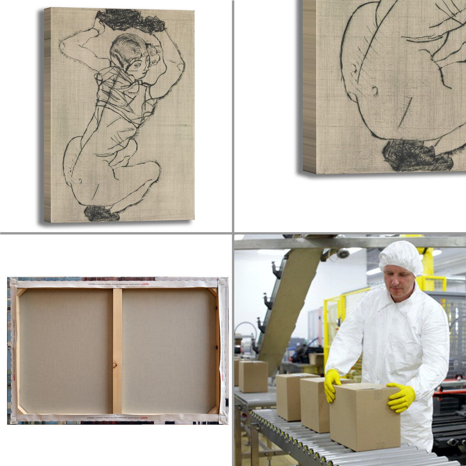 Schiele  a a a accovacciata design quadro stampa tela dipinto telaio arRouge o casa 28081b