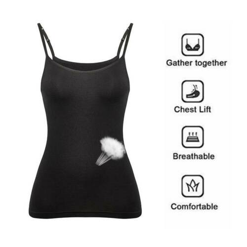 Women Sleeveless Tops Built in Shelf Wide Strap Basic Camisole Bra Casual Vests