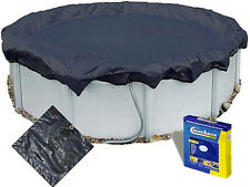 15 FT ROUND ABOVE GROUND SWIMMING POOL WINTER COVER & RATCHET 15FT + COVER SAVER