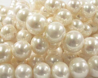 #33 11-13 mm Half Strand White Graduated Large Hole Pearl Beads 2.2 mm Hole