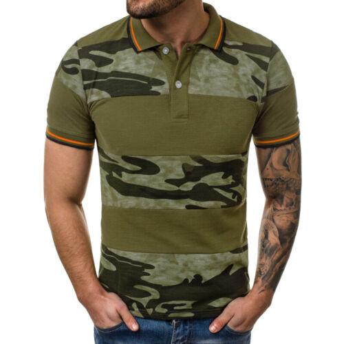 Men/'s Camo Summer Short Sleeve Polo Shirts Classic Slim Fit Tops Blouse T-shirt