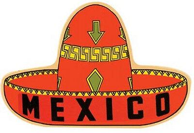 Mexico -Sombrero Hat- Vintage-1950's Style Travel Decal