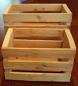 Details About Handcrafted Idaho Knotty Pine Wood Slat Box Crate Shabby Chic New