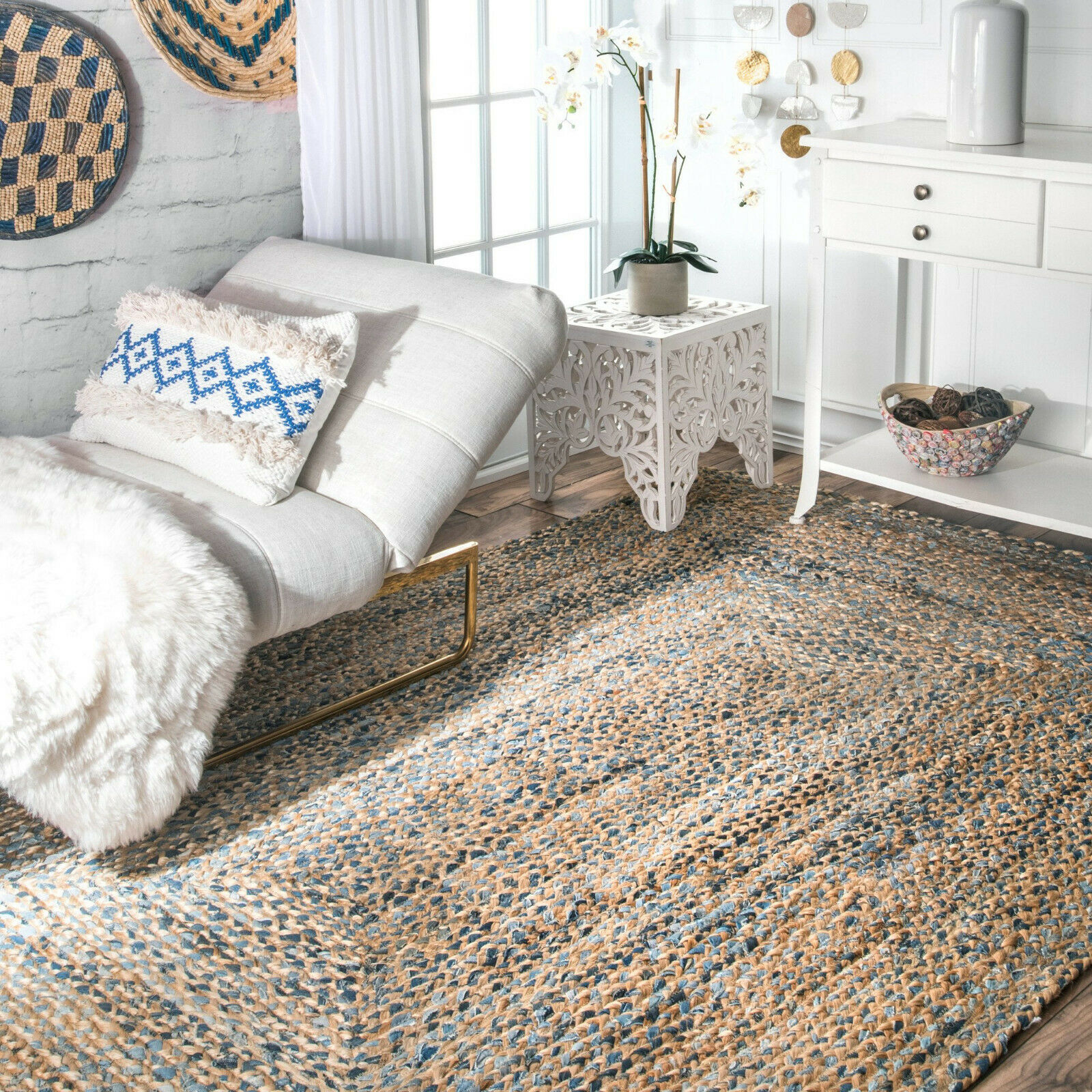 Contemporary Rug Hand Braided Indoor Outdoor Rug Natural Fibers Cotton Jute Blue