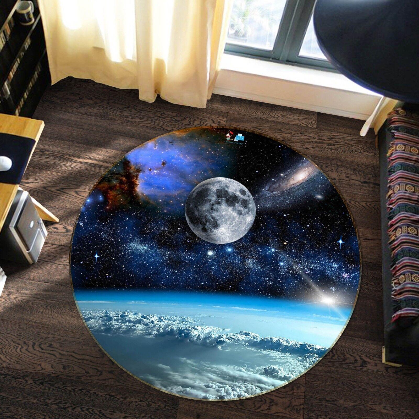 3D Planète 1121 Étage Antidérapant Natte Rond Élégant Tapis FR Summer