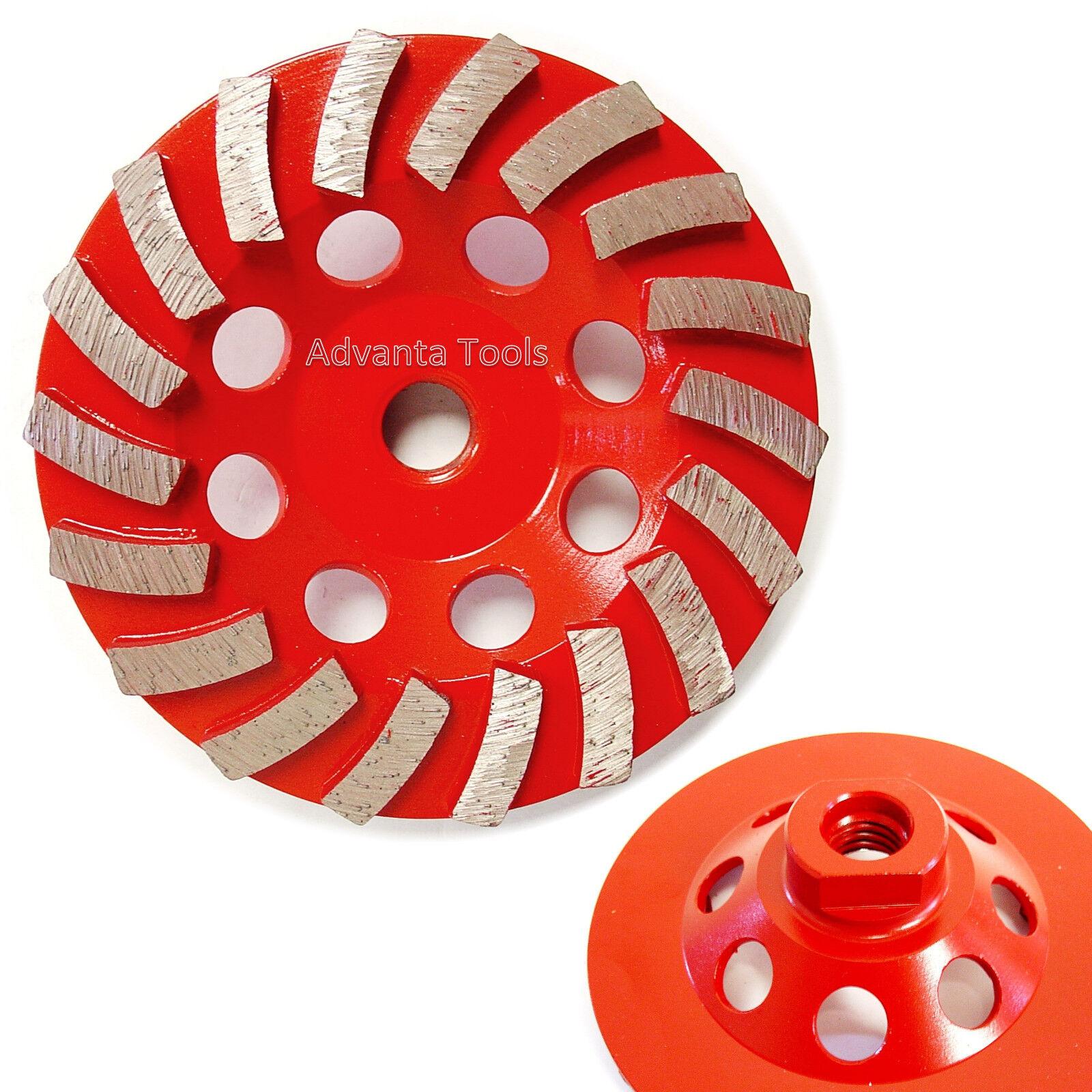 "5"" Spiral Turbo Diamond Cup Wheel for Concrete Grinding 18 Segs 7//8/""-5//8"" Arbor"