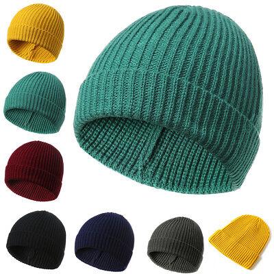 Cn /_ Homme Femme Couleur Unie Bonnet Tricot Automne Hiver Chaud Ski Chapeau C