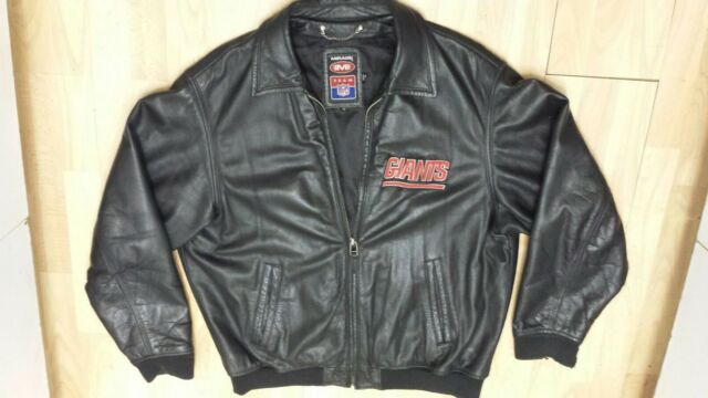 Vintage NFL MIRAGE New York Football NY GIANTS 100% Leather Jacket Men s Sz  XL 7ded047e5
