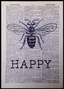 A3 Vintage Bumble Bee Illustration Dictionary Page Wall Art Print Picture Insect