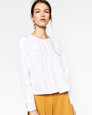 Zara NWT White Tiered Cotton Boho Top Blouse Size Small S