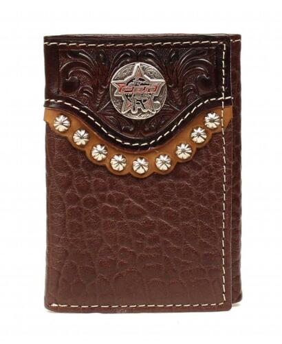 PBR Western Mens Wallet Leather Trifold Overlay Logo Concho Mahogany 5621802
