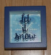 """NEW/""""Let IT SNOW/""""~Stitched Button SNOWMAN~Framed//glass~Winter~Primitives by Kathy"""