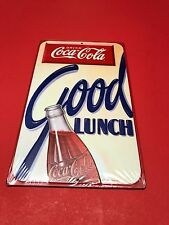 DRINK COCA COLA GOOD LUNCH COKE BOTTLE EMBOSSED RETRO STYLE METAL SIGN NEW