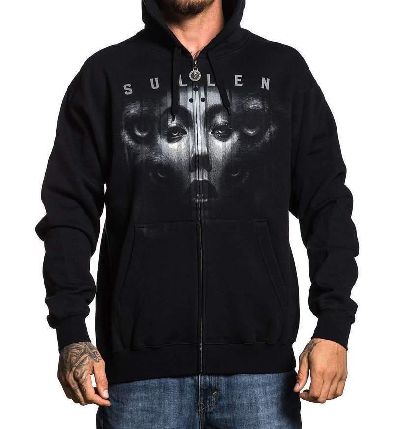 Sullen Clothing Jak Connoly Tattoo Ink Wolf Zip Up Hoodie Sweatshirt SCM2179