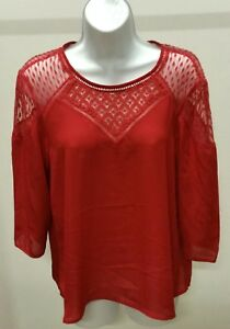 Hagel-Women-039-s-Red-Solid-3-4-Sleeve-w-Lace-Top-Blouse-Size-M