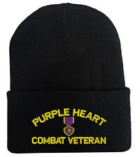 PURPLE HEART COMBAT VETERAN FOLD UP LONG BEANIE HATS MILITARY LAW ENFORCEMENT