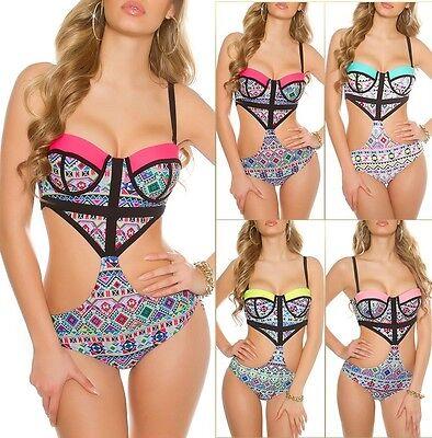 Bikini Monokini Badeanzug mit Aztekenmuster Push Up Beachwear Schwimm
