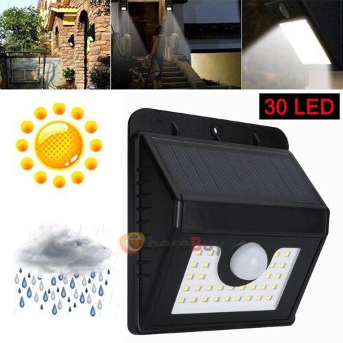 2X LED RV Motion Sensor Solar Exterior Porch Utility Light Fixture 30 LED Black