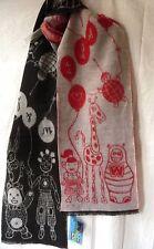 240x30 Schal wool scarf dolls Walter van Beirendonck vintage W&LT red-black-grey
