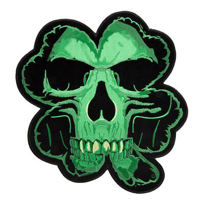 "Irish Biker iron on  embroidered patches 4/"" Lucky 4 leaf Clover Skull Patch"