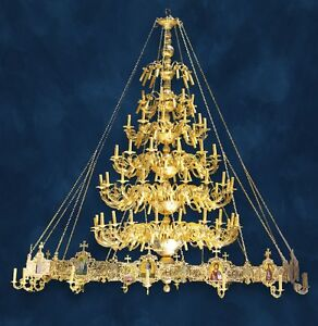 Brass and gold plated chandelier polyeleos for orthodox church image is loading brass and gold plated chandelier polyeleos for orthodox aloadofball Image collections