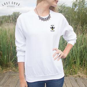 * Bee Nice Jumper Top Sweater Grunge Tumblr Cute Funny Slogan Pocket Fashion *