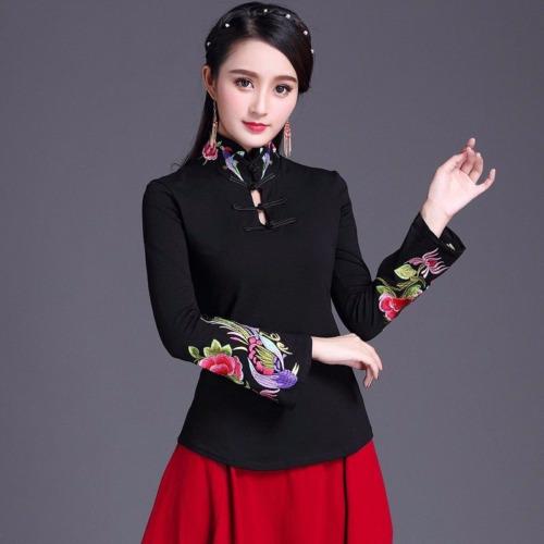 Damen chinesisch Vintage Stickerei Frosch Hemd Stehkragen Fackel Ärmel ethnisch