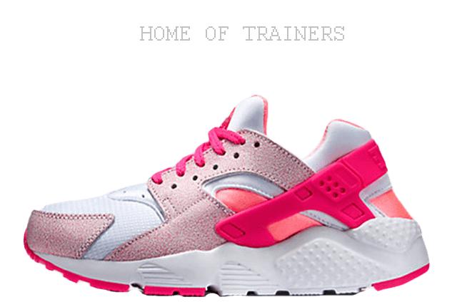 Nike Air Huarache Lava Glow Weiß Rosa Silber Mädchen Frauen Turnschuhe ( Pti )