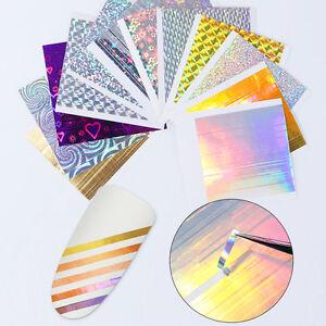 12-Blatt-BORN-PRETTY-Holo-Nagelfolie-Streifen-Candy-Nail-Folie-3D-Nail-Stickers