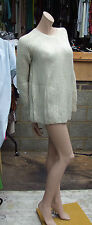Maje Size 2 Fabulous Gold & White Cunky Long Sleeve Knit Jumper Swaetor Top