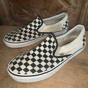 Vans-Black-White-Checkered-Slip-On-Canvas-Sneakers-Men-s-9-5-Women-s-11