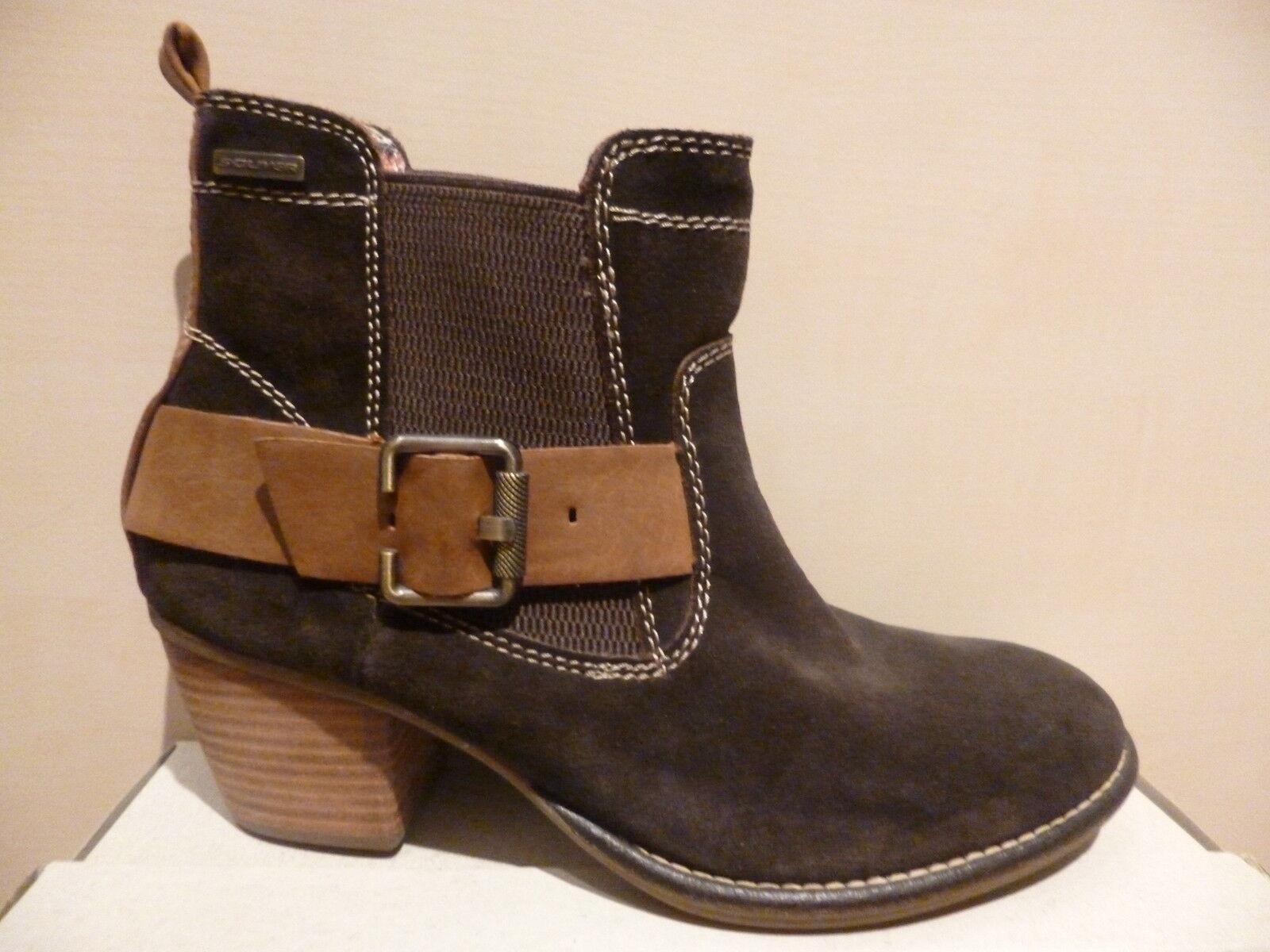 S. Oliver marrón señora botas botines botas ata de cuero marrón Oliver nuevo 5bbfbd