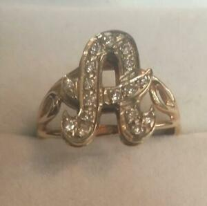 14K-Solid-2-tone-Gold-Lady-039-s-A-Initial-Ring-17-Natural-Diamonds-1-3-Ct-Sz-7-75