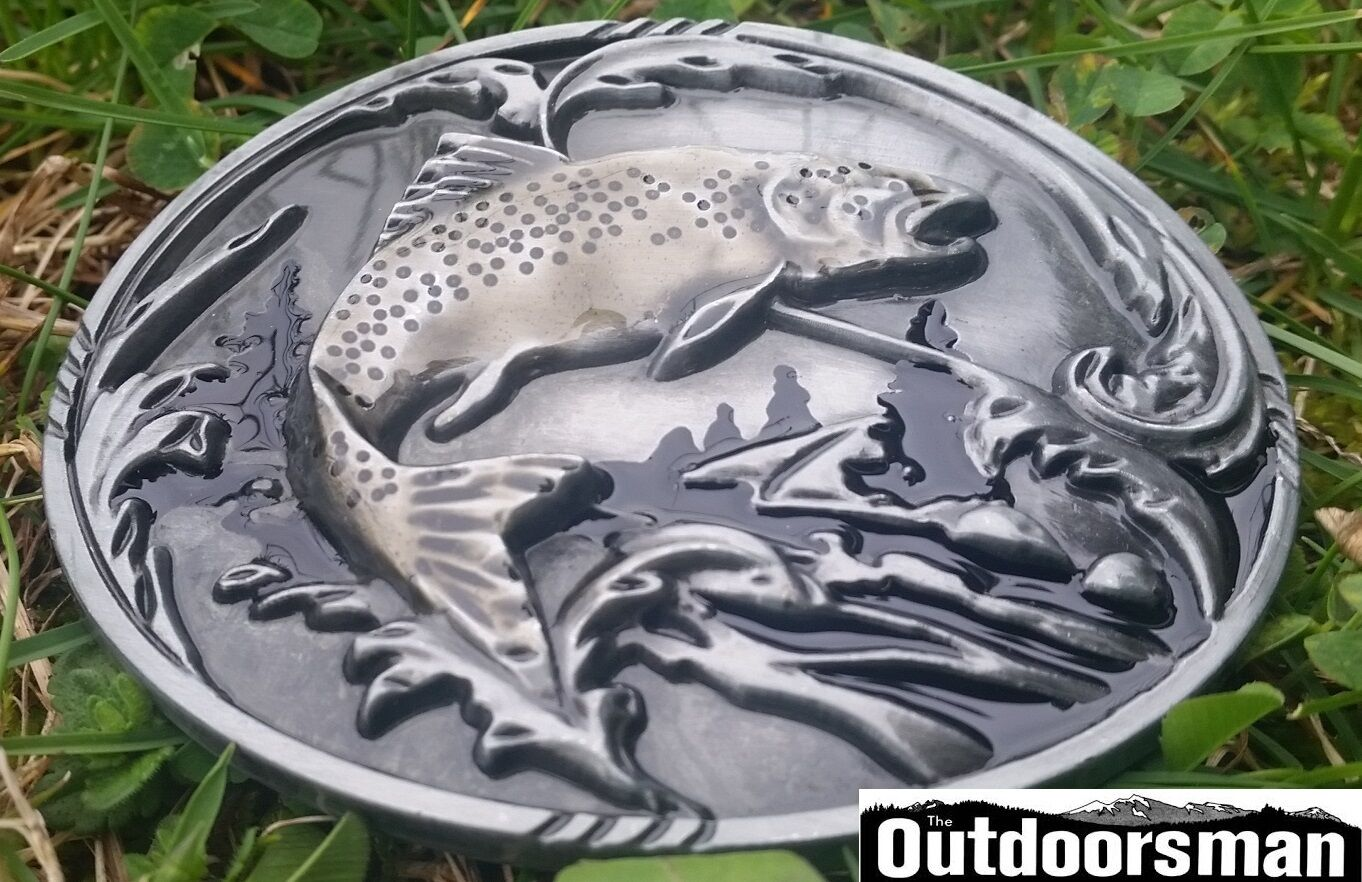 ✖ Fishing fish Belt Buckle Full Metal Trout Antique silver color USA Country