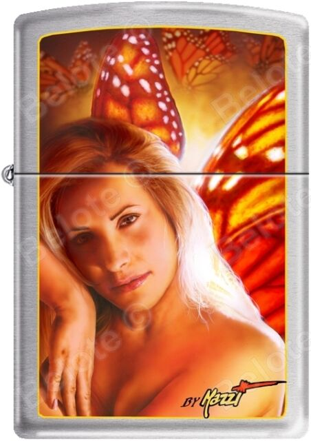 Zippo Mazzi Orange Fairy, Wings, Butterfly, Angel Satin Chrome Lighter NEW
