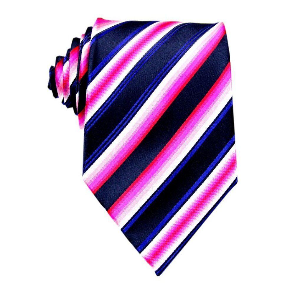Rose Red Black Striped 100% Silk Jacquard Classic Woven Man's Tie Necktie BP17