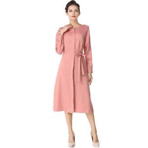 brand new 0b69c aabc3 Dettagli su Elegante vestito abito donna rosa cipria lungo scampanato slim  morbido 4183