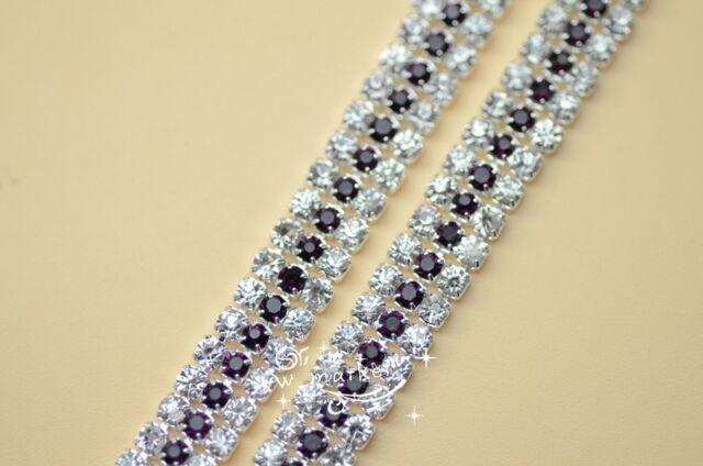 3 row costume applique rhinestone trims silver ss8.5 x 1 yard