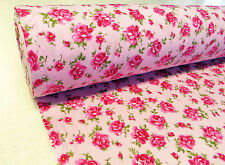 by METRE PINK ROSE FABRIC 100% Cotton floral flowers vintage Kidston shabby chic