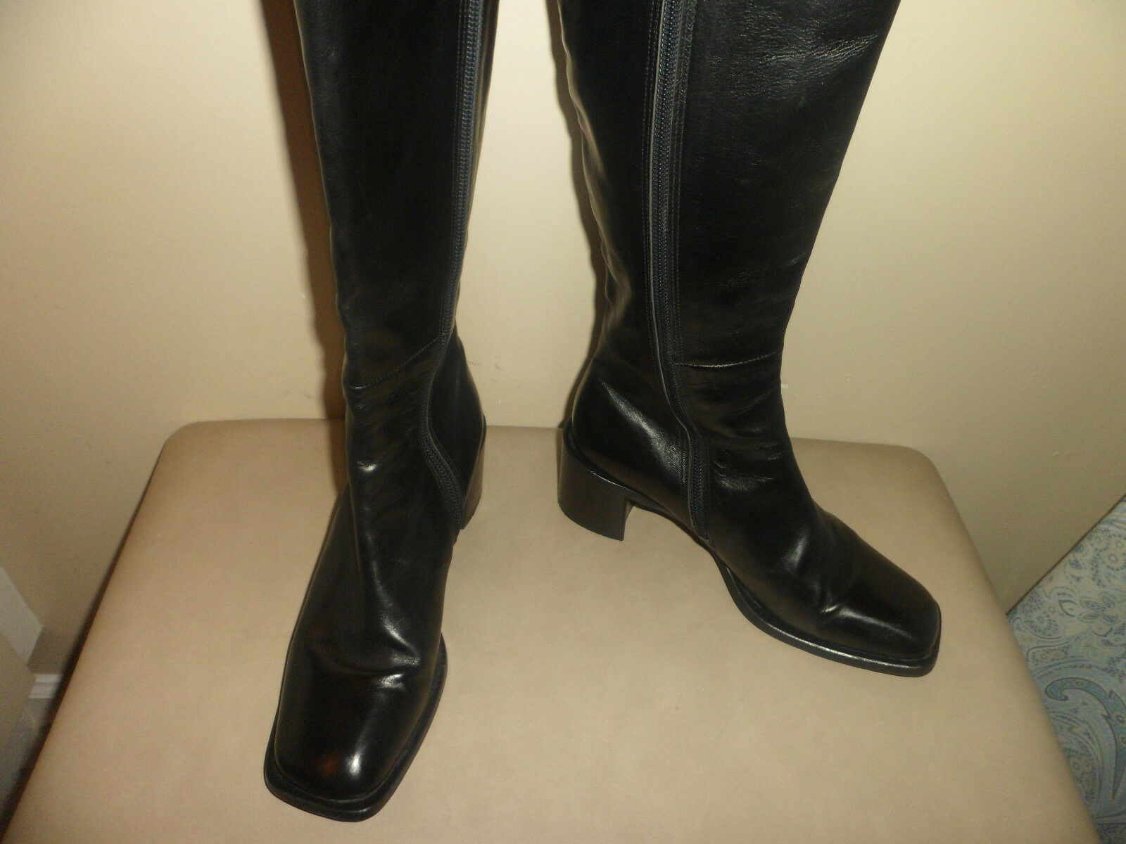 Para Para Para mujer Joan Helpern Firma todo el cuero negro cremallera hasta la rodilla botas altas talla 7 M  marcas en línea venta barata