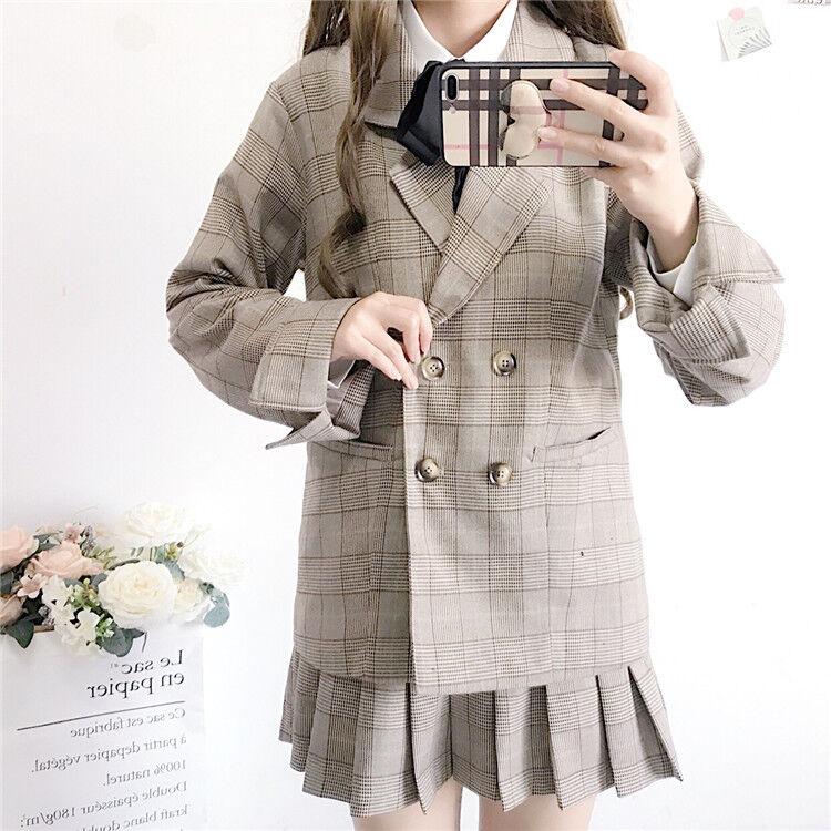Japanese Sweet Lolita Preppy style JK Uniform lattice lattice lattice Long Sleeve Coat+Skirt 75d395
