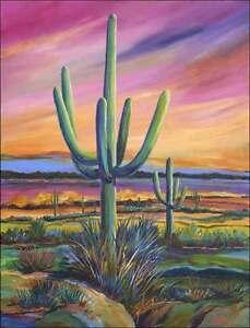 Ceramic-Accent-amp-Decor-Tile-Libby-Southwest-Saguaro-Cactus-Art-SLA052AT