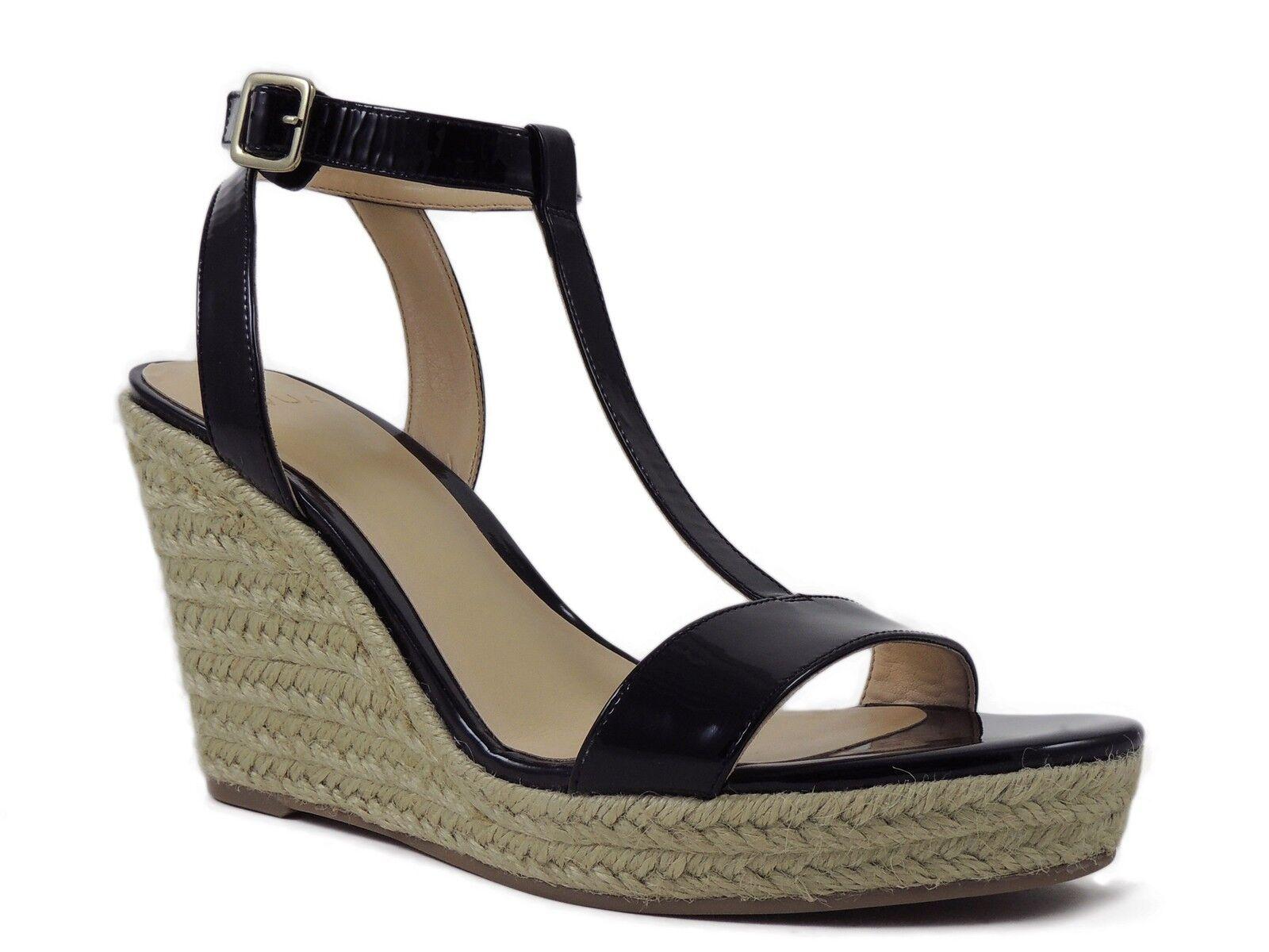 Aqua Women's Hampton Wedge T-Strap Sandals Black Patent Leather Size 8 M