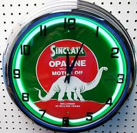 17 Sinclair Opaline Dino Gasoline Motor Oil Gas Station Sign Neon Clock