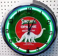 17 Sinclair Opaline Dino Gasoline Motor Oil Gas Station Sign Neon Clock