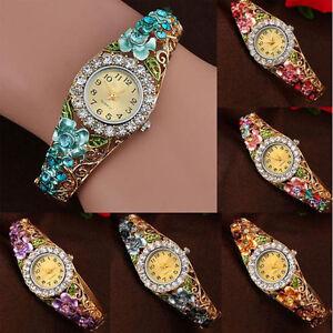 Women-039-s-Flower-Rhinestone-Dial-Dress-Bangle-Wristwatch-Luxury-Gorgeous-Bracelet