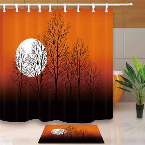 Trees Silhouette And Sunset Waterproof Fabric Shower Curtain Set Bathroom 71Inch